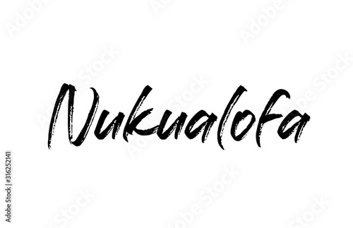 Fototapety, obrazy: capital Nukualofa typography word hand written modern calligraphy text lettering