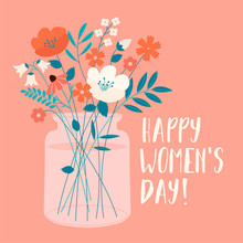 International Womens Day With Spring Bouquet. Vector Template For Card, Poster, Flyer And Other Users.