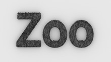 Zoo - 3d Word Gray On White Ba...