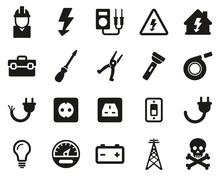 Electrician Tools & Equipment Icons Black & White Set Big