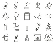 Fire & Fire Making Tools Icons...