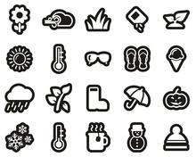 Four Seasons Icons White On Black Sticker Set Big