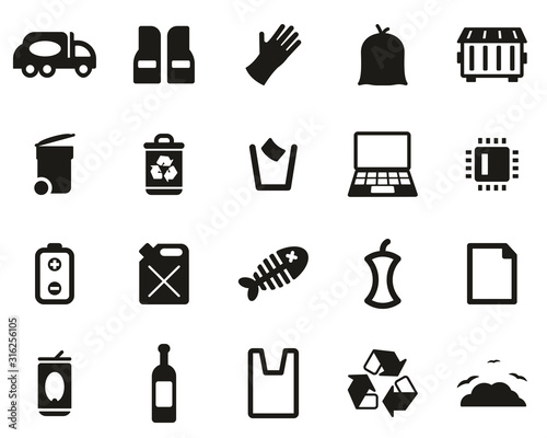 Vászonkép Garbageman Icons Black & White Set big