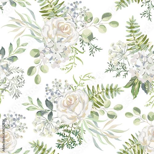 biala-roza-kwiaty-hortensji-z-zielenia