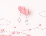 Hearts balloons with people flying on pink background. Vector love postcard for Happy Mother's, Valentine's Day or birthday greeting card design..