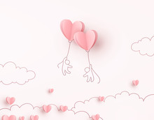 Hearts Balloons With People Fl...