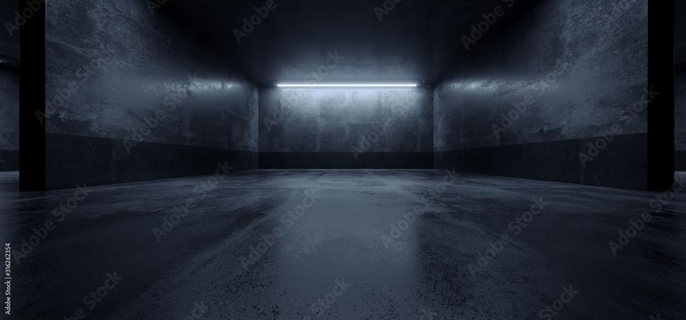Fototapeta Cement Dark Grunge Parking Underground Car Warehouse Garage Studio Rough Modern Reflective Spaceship Tunnel Corridor Showcase 3D Rendering