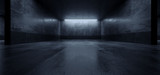 Fototapeta Do przedpokoju - Cement Dark Grunge Parking Underground Car Warehouse Garage Studio Rough Modern Reflective Spaceship Tunnel Corridor Showcase 3D Rendering