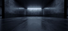 Cement Dark Grunge Parking Underground Car Warehouse Garage Studio Rough Modern Reflective Spaceship Tunnel Corridor Showcase 3D Rendering