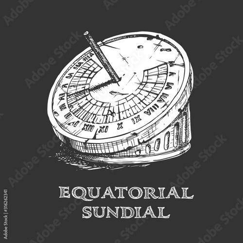 Cuadros en Lienzo hand drawn illustration of sundial.