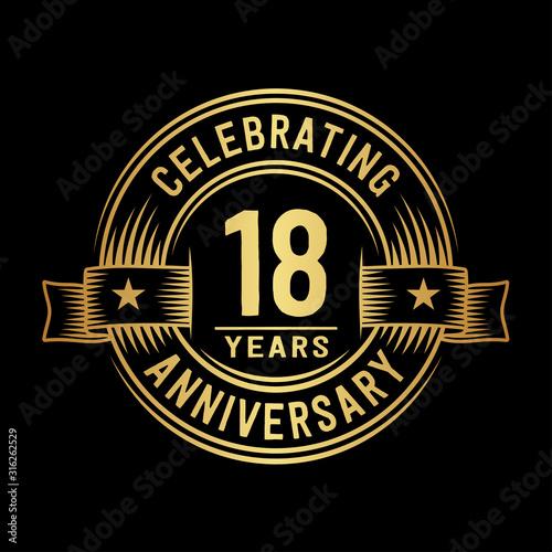 18 years anniversary celebration logotype Wallpaper Mural