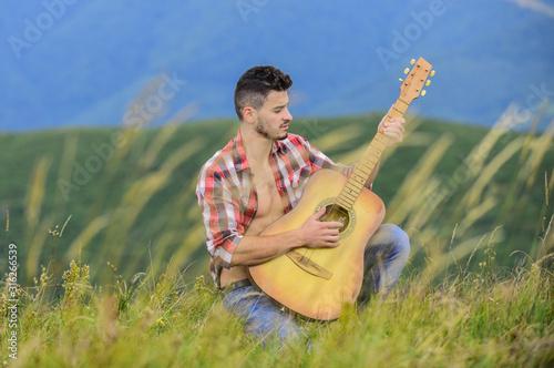Inspired musician play rock ballad Canvas Print