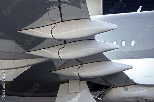 White Aerodynamic Airplane Wing Surfaces Background Wallpaper Mural