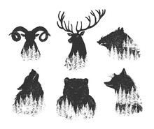 Abstract Forest Animals Head Set