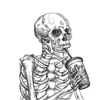 Skeleton Drinking Coffee From Cup