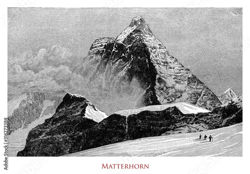 Vintage illustration of Matterhorn or Cervino between Switzerland and Italy, iso Wallpaper Mural