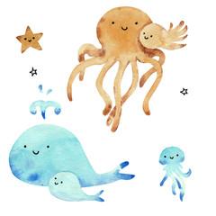 Watercolor sea animals set for baby