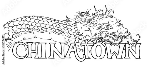 Ilustracja wektorowa smoka Chinatown