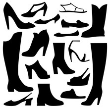 Woman Shoe Vector Icon Set.