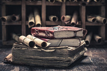 Magic Scrolls And Books In Med...