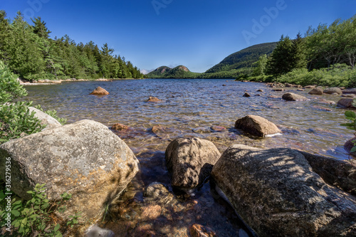 southern view of jordan pond in acadia national park, Maine Canvas Print