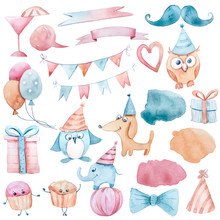 Watercolor Hand Painted Birthday Clipart On White Background. Penguin, Dog, Elephant, Present Box , Star, Fish, Cup Cake, Owl, Balloon, Garland, Heart, Washes Collection. Baby Shower Set