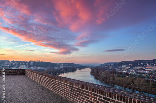 View from Vysehrad fort in the morning, Prague, Czech Republic Wallpaper Mural