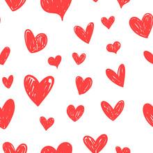 Heart Doodles Seamless Pattern