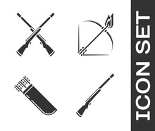 Set Hunting Gun, Two Crossed Shotguns, Quiver With Arrows And Bow And Fire Arrow Icon. Vector