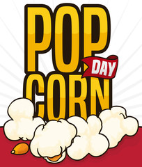Golden Sign, Ribbon and Popped Kernels to Celebrate Popcorn Day, Vector Illustration