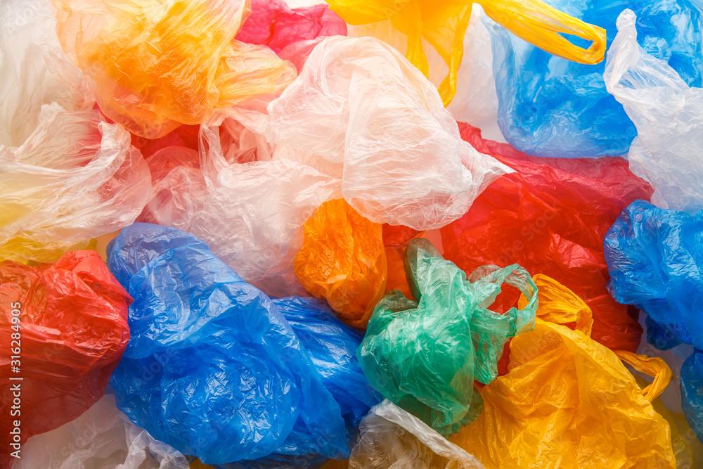 Fototapeta Colorful plastic bags pattern