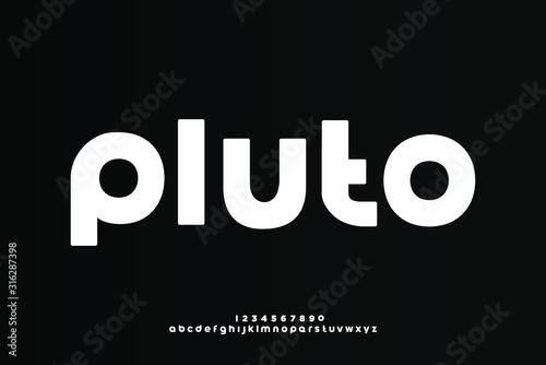 Pluto, a modern minimalist clean alphabet font Fotobehang