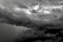 Heavy Thunderclouds Before The Start Of A Hurricane.
