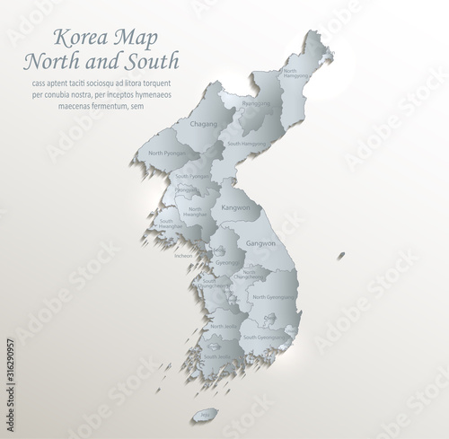 Korea map north and south, administrative division with names, white blue card p Canvas Print