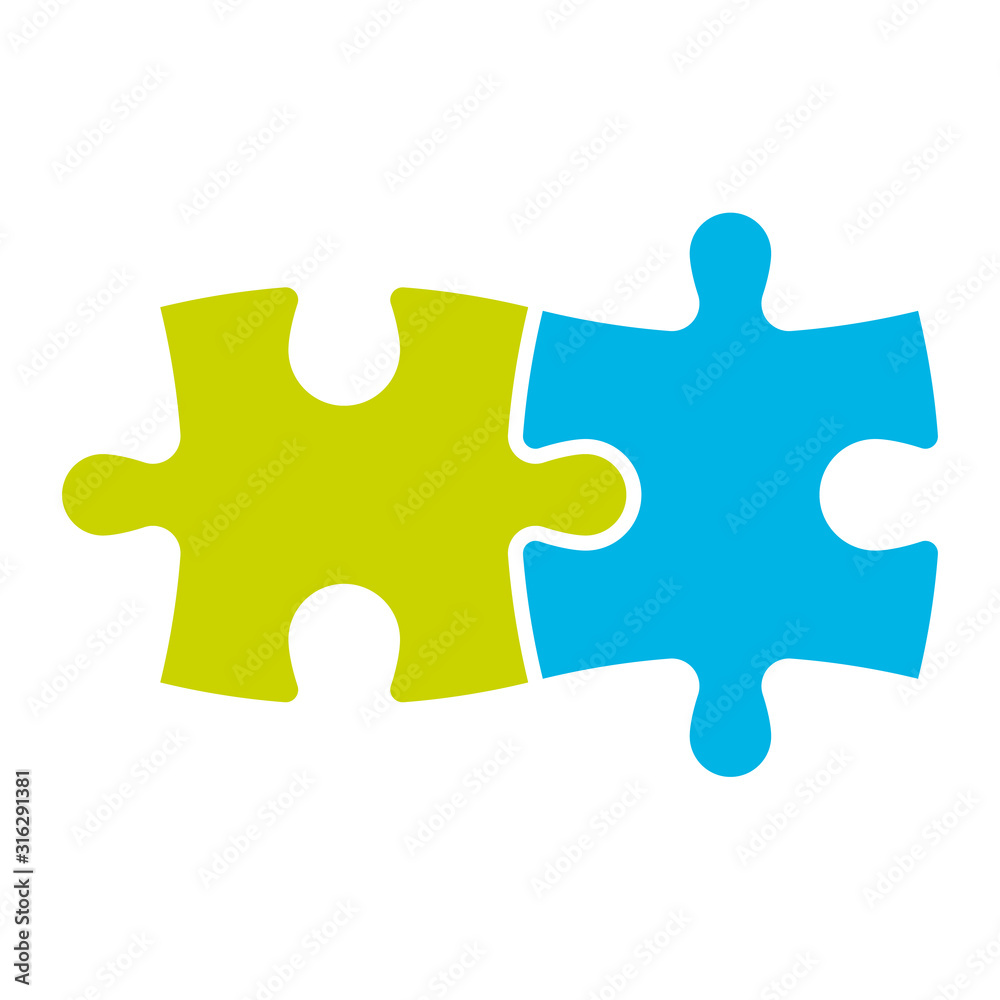Fototapeta Jigsaw puzzle of two pieces. Team cooperation, teamwork or solution business theme. Simple flat vector illustration