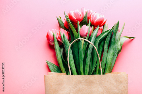 Beautiful tulips bouquet in bag on pink background Canvas Print
