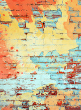 Brightly Colored Orange Yellow And Aqua Turquoise Paint Splatter Digital Painting On Brick Wall Background Texture With Empty Space As A Grunge Retro Colored Template