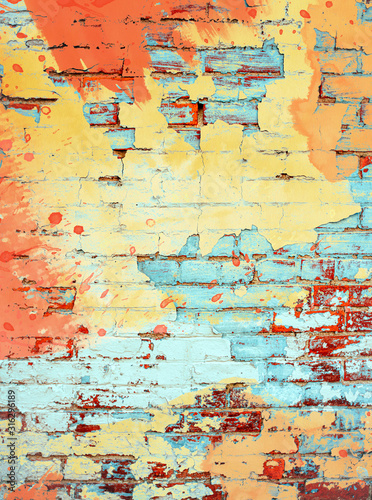 Brightly colored orange yellow and aqua turquoise paint splatter digital paintin Canvas Print
