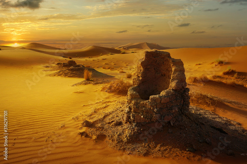 old water well in the sahara desert