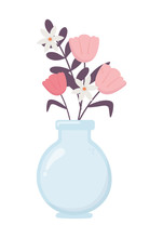 Vase Glass With Flowers Decora...