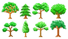 Pixel Art Trees Isolated Vecto...