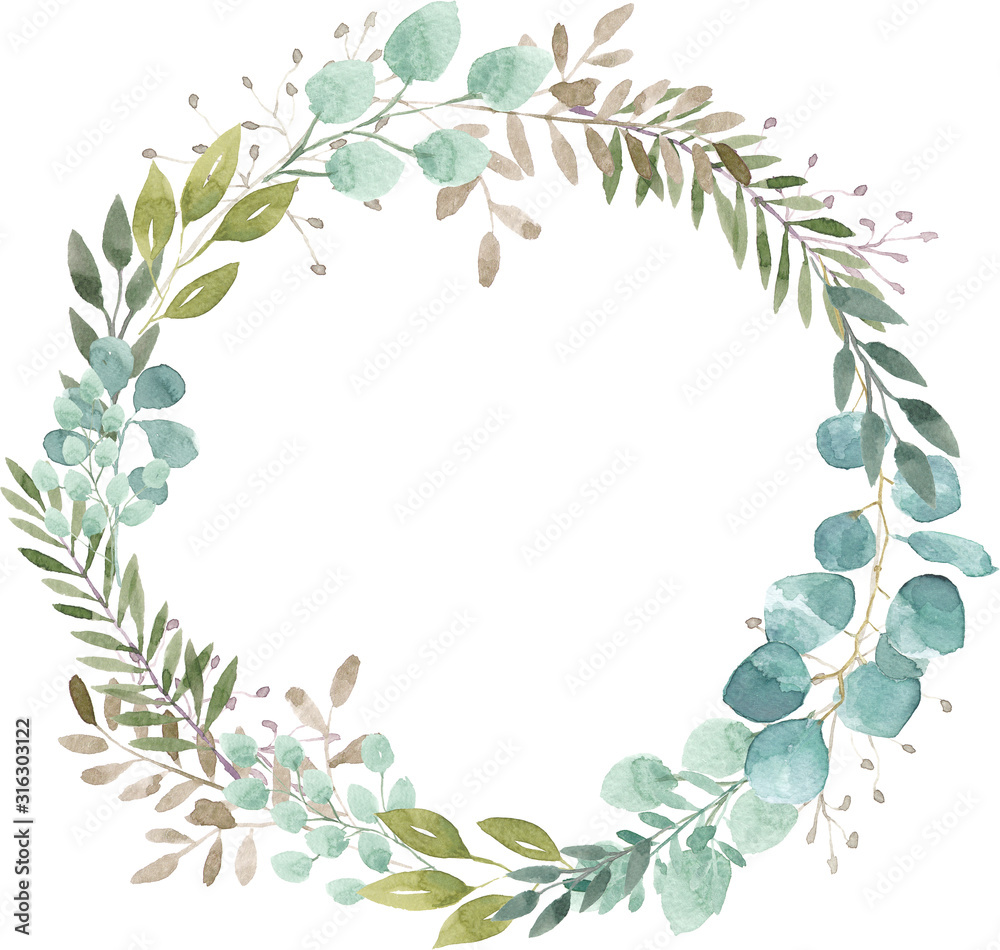 Fototapeta watercolor wreath foliage green natural eucalyptus round delicate leaf leaves organic spring summer bouquet