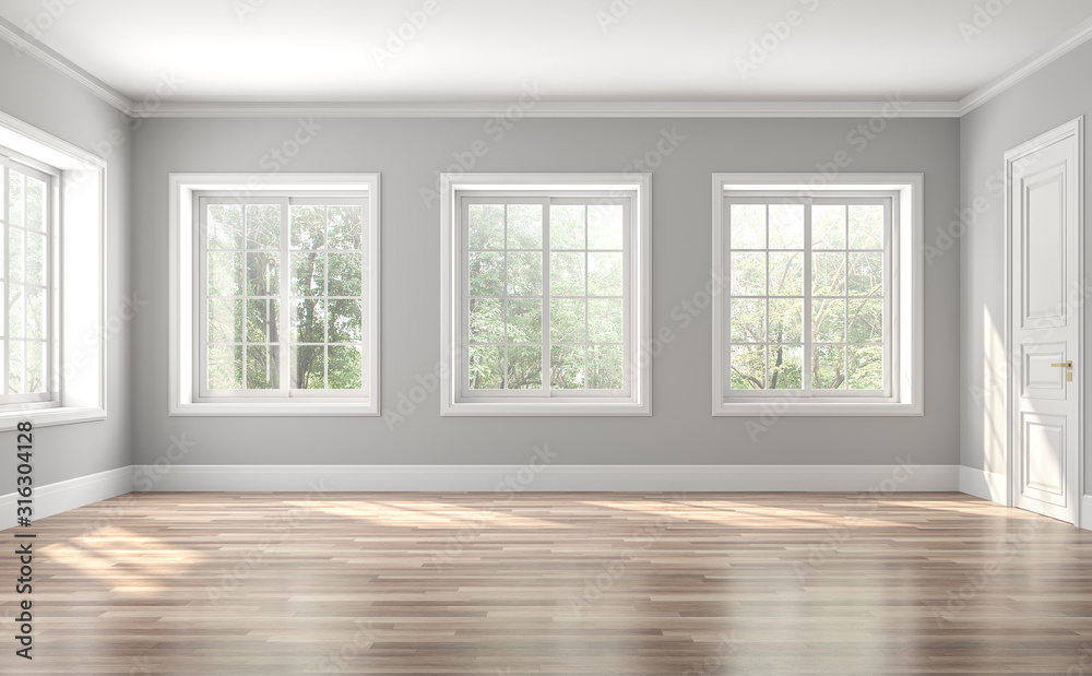 Fototapeta Classical empty room interior 3d render,The rooms have wooden floors and gray walls ,decorate with white moulding,there are white window looking out to the nature view.