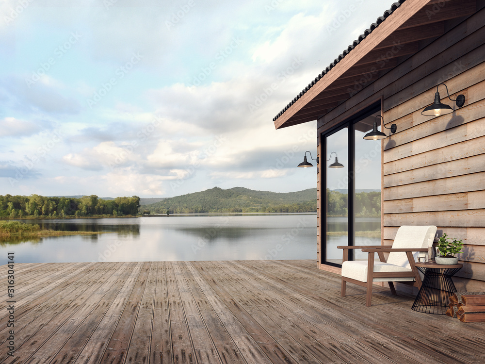 Fototapeta Wooden house exterior with beautiful lake and mountain view 3d render,There are old wood terrace floor,Decorate with white fabric chair,Surrounded by nature