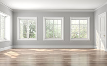 Classical Empty Room Interior 3d Render,The Rooms Have Wooden Floors And Gray Walls ,decorate With White Moulding,there Are White Window Looking Out To The Nature View.