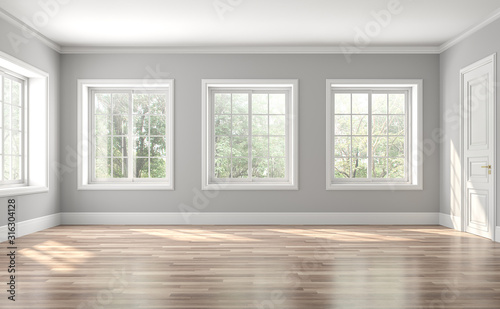 Fototapeta Classical empty room interior 3d render,The rooms have wooden floors and gray walls ,decorate with white moulding,there are white window looking out to the nature view. obraz