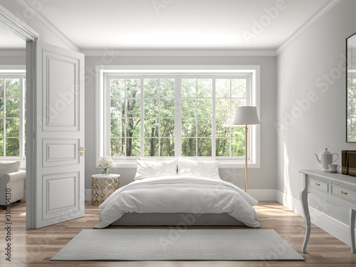 Obraz na plátně Classical bedroom and living room 3d render,The rooms have wooden floors and gray walls ,decorate with white and gold furniture,There are large window looking out to the nature view