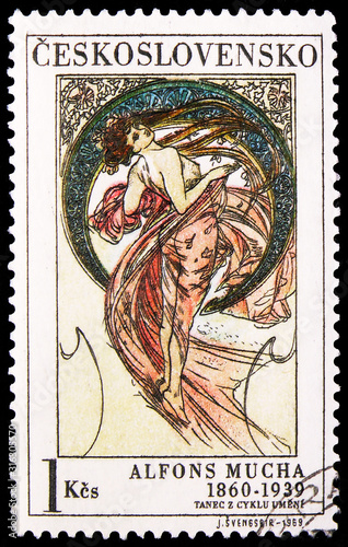 Fotografering Postage stamp printed in Czechoslovakia shows Alfons Mucha: Dance, Art Alphonse
