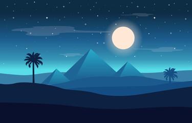 Full Moon Night Egypt Pyramid Desert Arabian Landscape Illustration