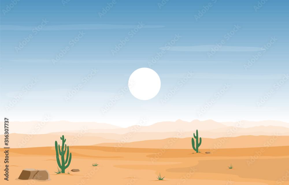 Day in Vast Western American Desert with Cactus Horizon Landscape Illustration